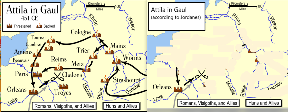 Attila in Gaul map
